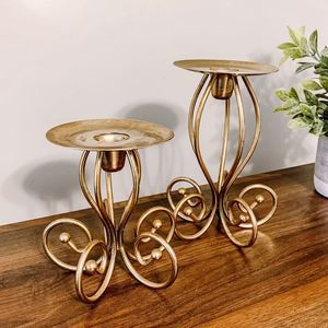 Set of 2 Vintage Brass Tapered Candle Stand Holder